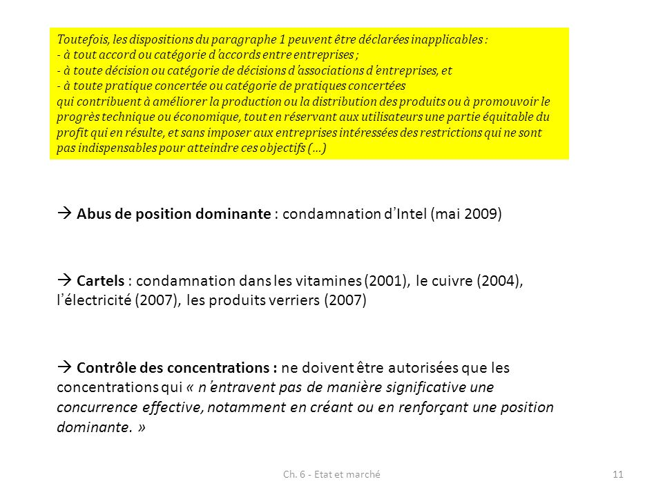  Abus de position dominante : condamnation d'Intel (mai 2009)