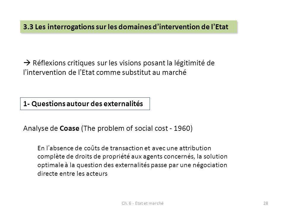 3.3 Les interrogations sur les domaines d'intervention de l'Etat