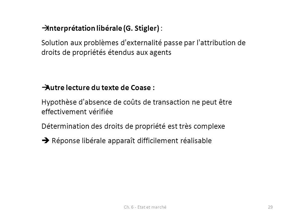 Interprétation libérale (G. Stigler) :