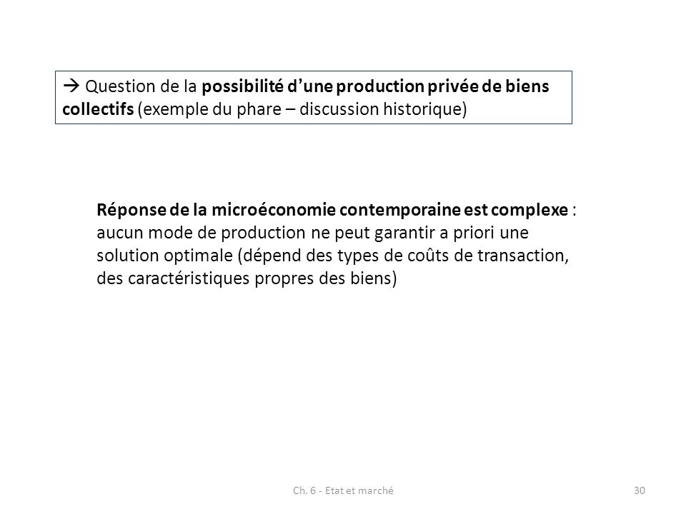  Question de la possibilité d'une production privée de biens collectifs (exemple du phare – discussion historique)