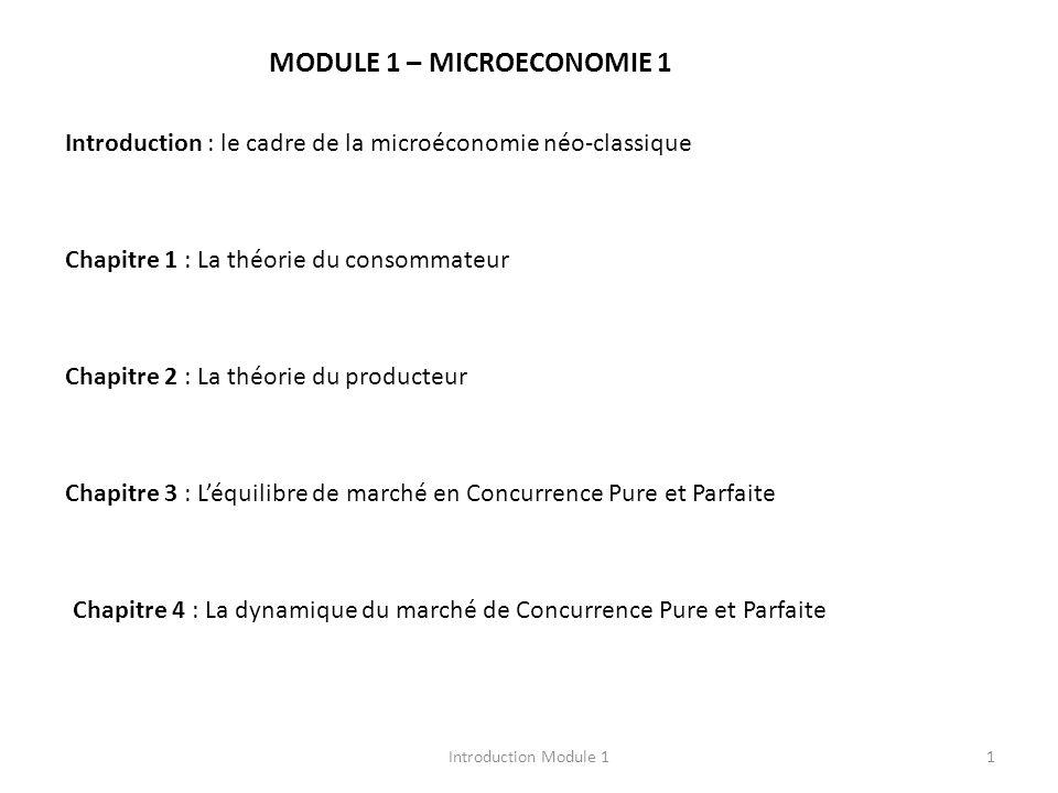 MODULE 1 – MICROECONOMIE 1