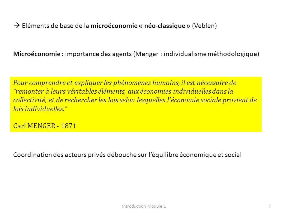  Eléments de base de la microéconomie « néo-classique » (Veblen)