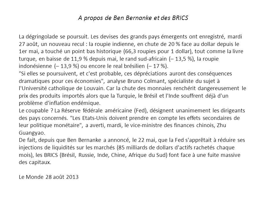 A propos de Ben Bernanke et des BRICS