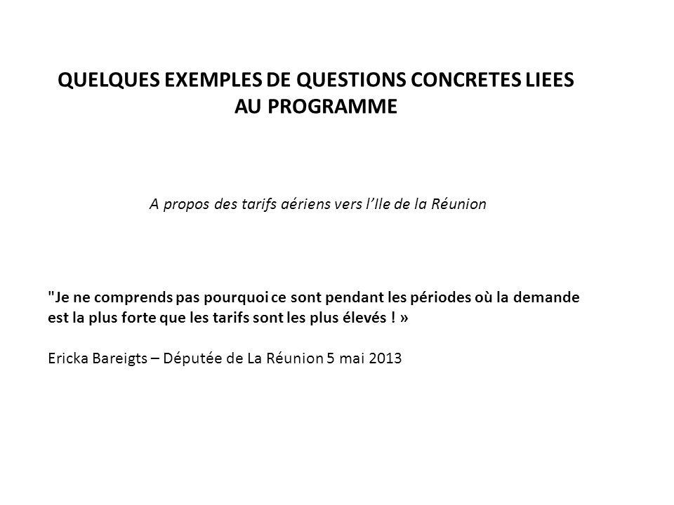 QUELQUES EXEMPLES DE QUESTIONS CONCRETES LIEES AU PROGRAMME