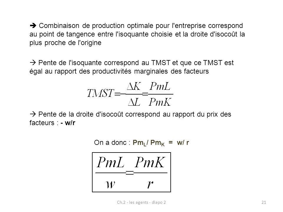  Combinaison de production optimale pour l entreprise correspond au point de tangence entre l isoquante choisie et la droite d isocoût la plus proche de l origine