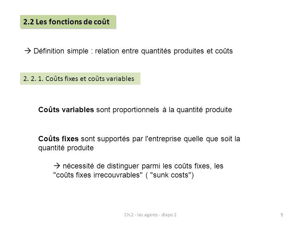 2.2 Les fonctions de coût  Définition simple : relation entre quantités produites et coûts. 2. 2. 1. Coûts fixes et coûts variables.