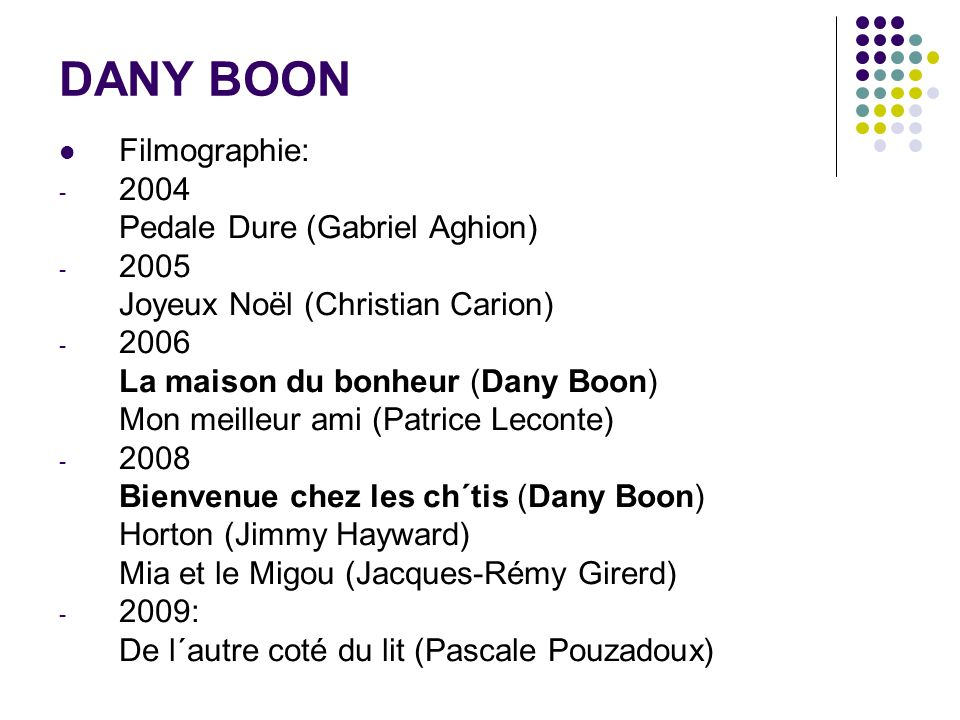 DANY BOON Filmographie: 2004 Pedale Dure (Gabriel Aghion) 2005