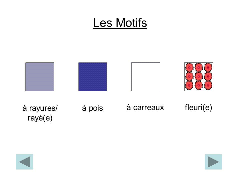Les Motifs à rayures/ rayé(e) à pois à carreaux fleuri(e)