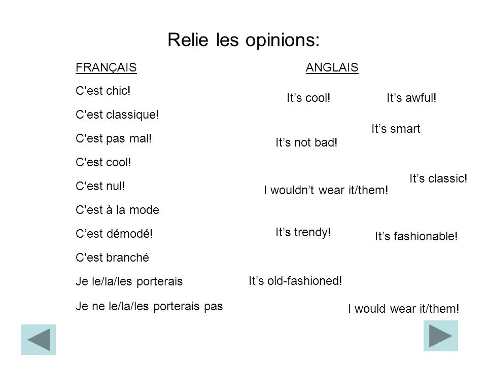 Relie les opinions: FRANÇAIS ANGLAIS C est chic! It's cool!