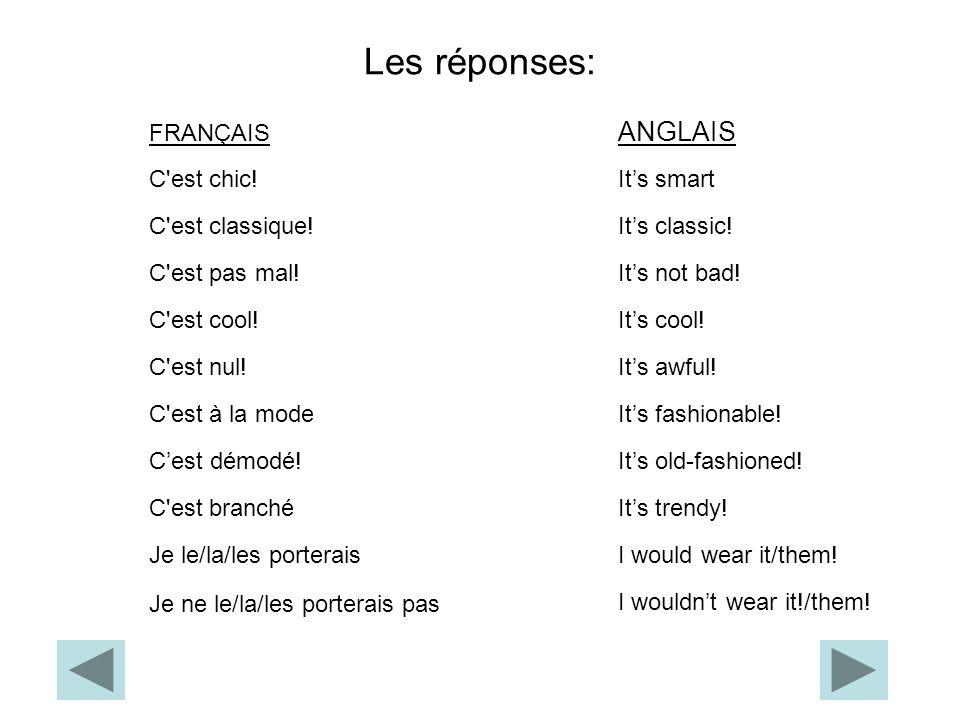 Les réponses: ANGLAIS FRANÇAIS C est chic! It's smart C est classique!