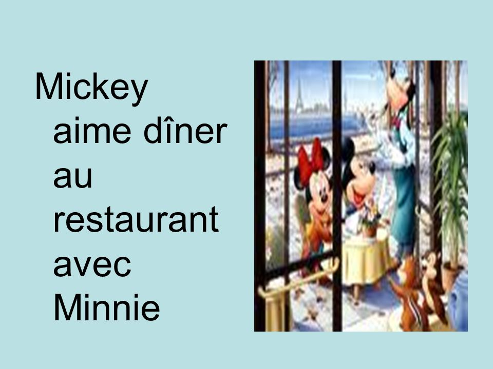 Mickey aime dîner au restaurant avec Minnie