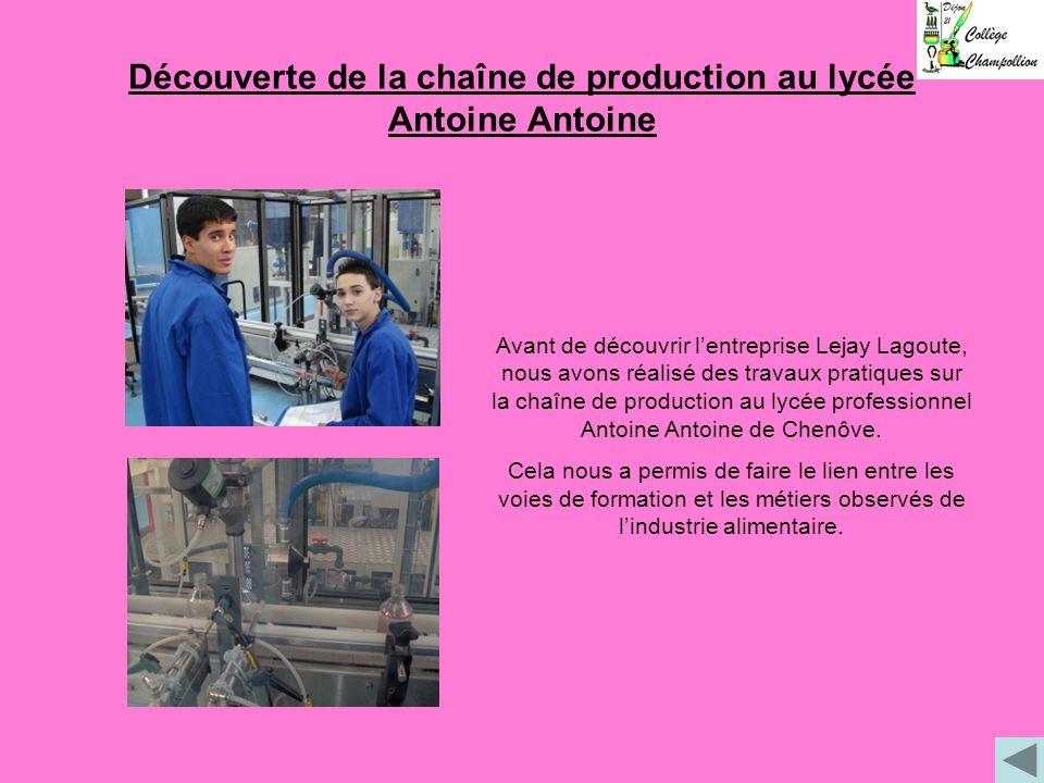 Découverte de la chaîne de production au lycée Antoine Antoine