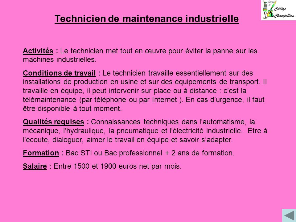 Technicien de maintenance industrielle
