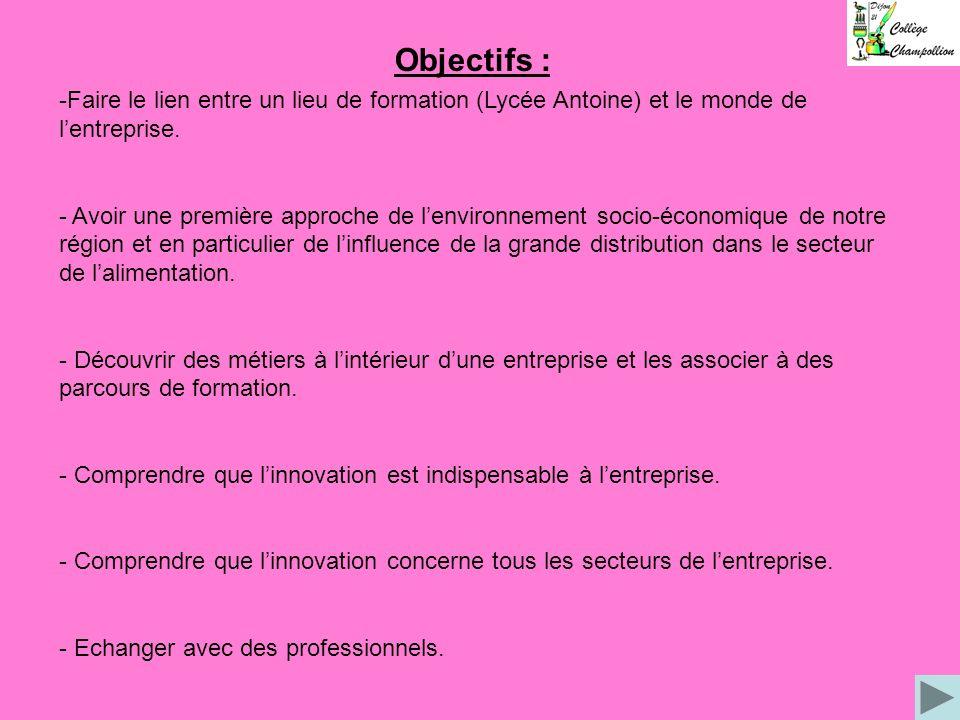Objectifs : Faire le lien entre un lieu de formation (Lycée Antoine) et le monde de l'entreprise.