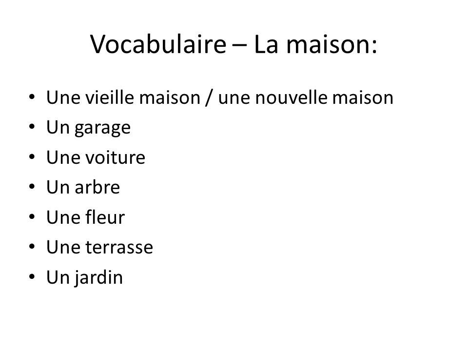 Vocabulaire – La maison: