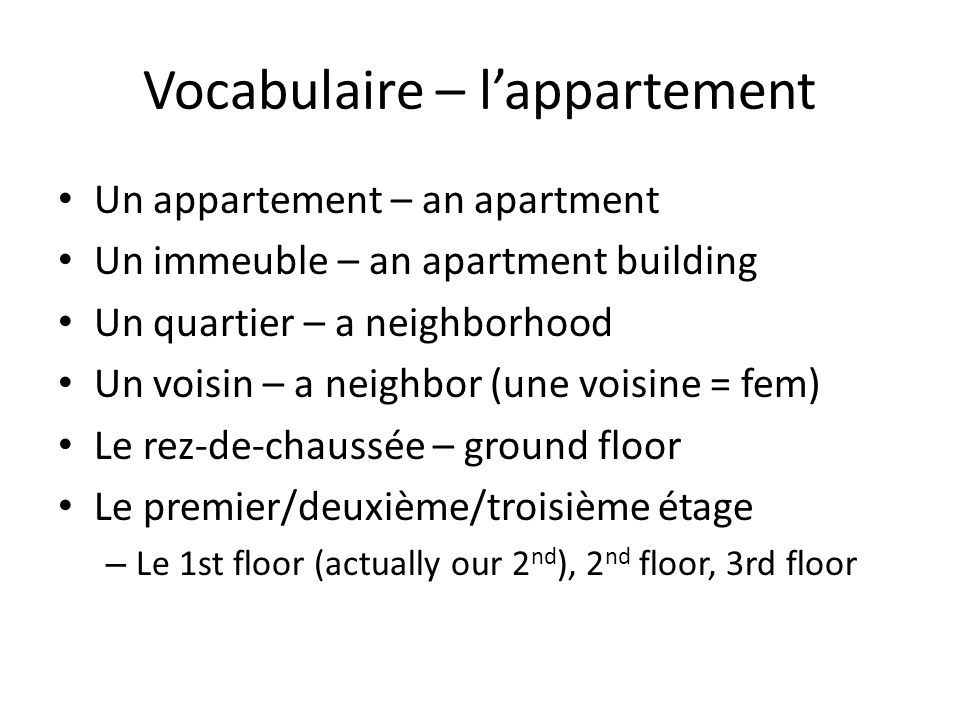 Vocabulaire – l'appartement