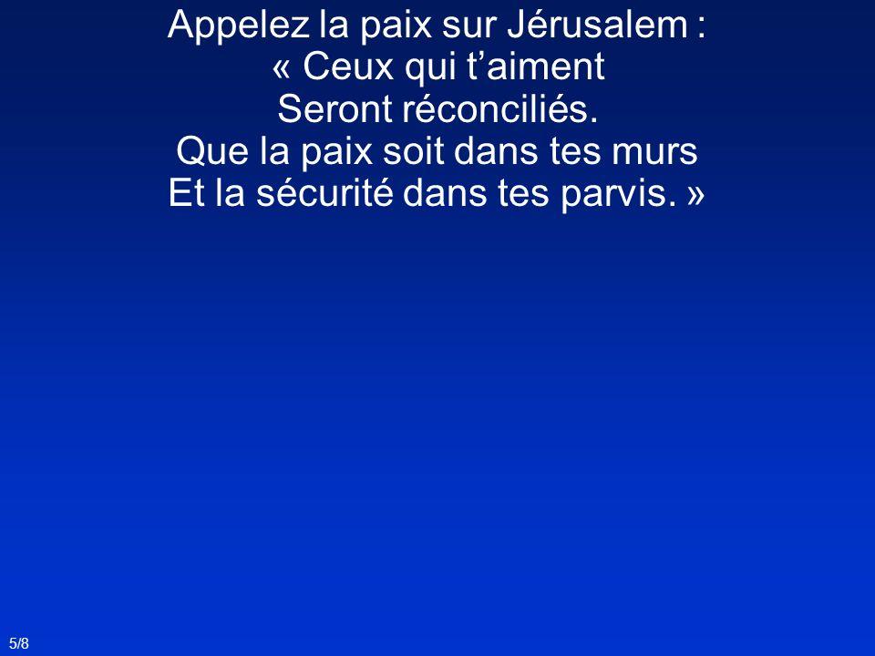 Appelez la paix sur Jérusalem : « Ceux qui t'aiment
