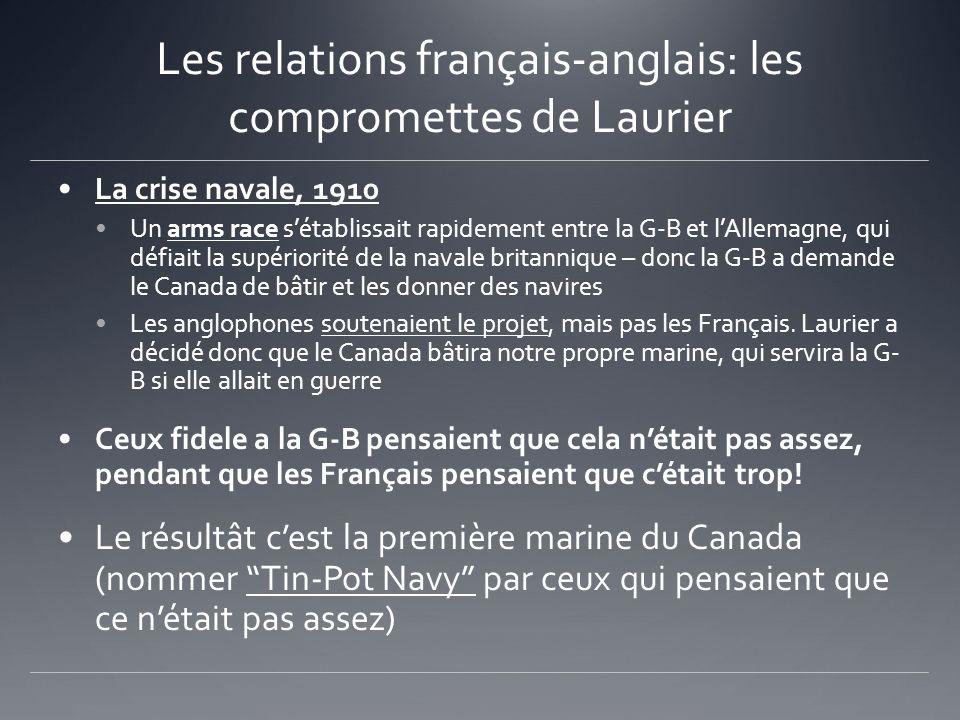 Les relations français-anglais: les compromettes de Laurier