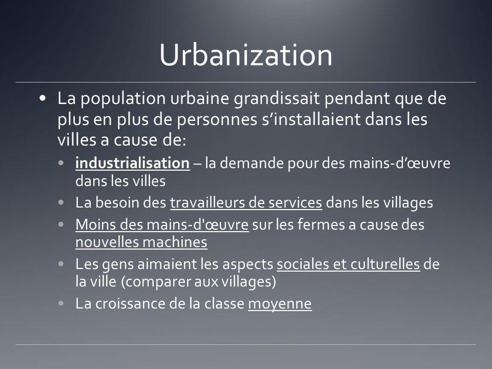 Urbanization La population urbaine grandissait pendant que de plus en plus de personnes s'installaient dans les villes a cause de: