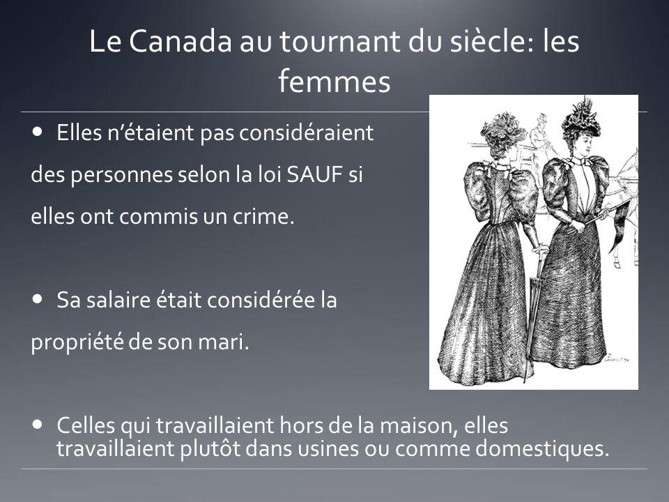 Le Canada au tournant du siècle: les femmes