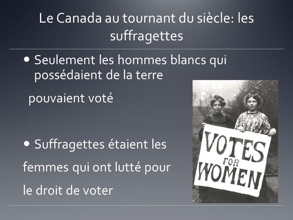 Le Canada au tournant du siècle: les suffragettes