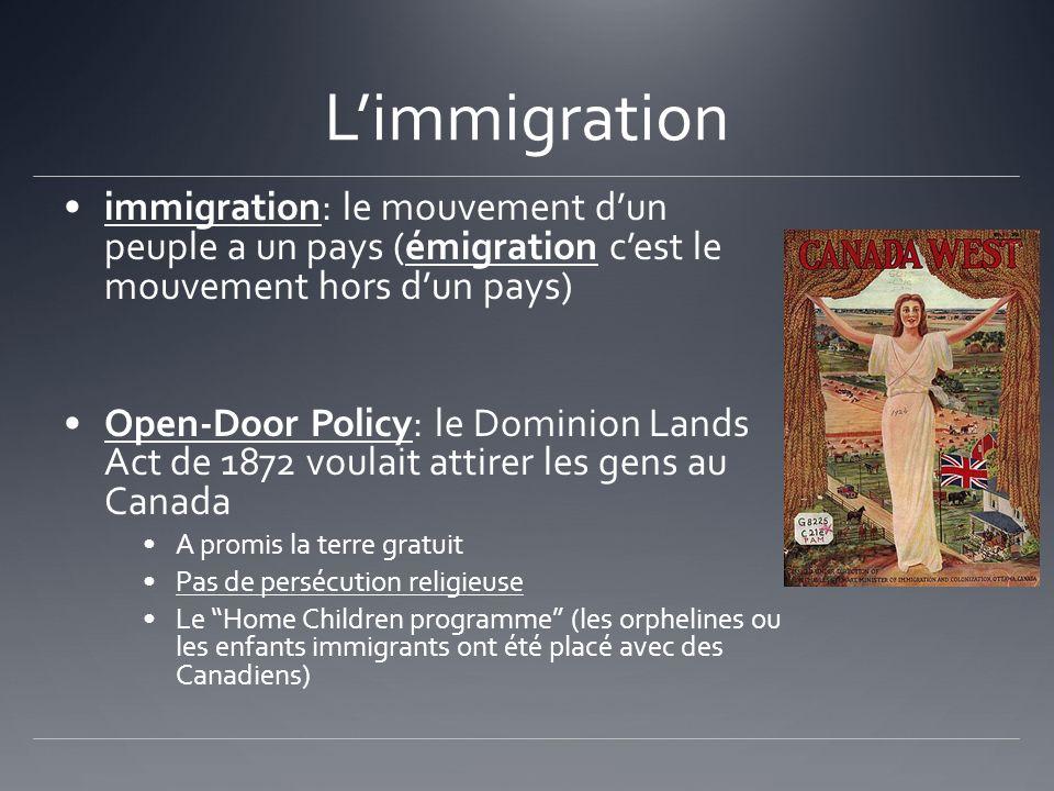 L'immigration immigration: le mouvement d'un peuple a un pays (émigration c'est le mouvement hors d'un pays)