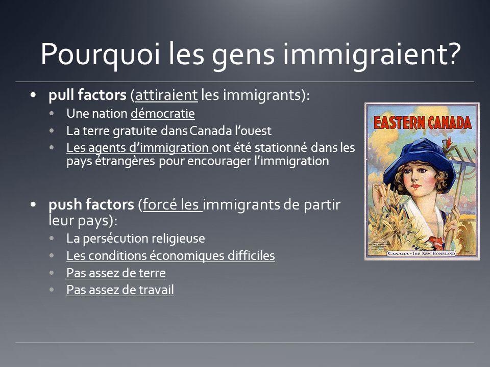 Pourquoi les gens immigraient