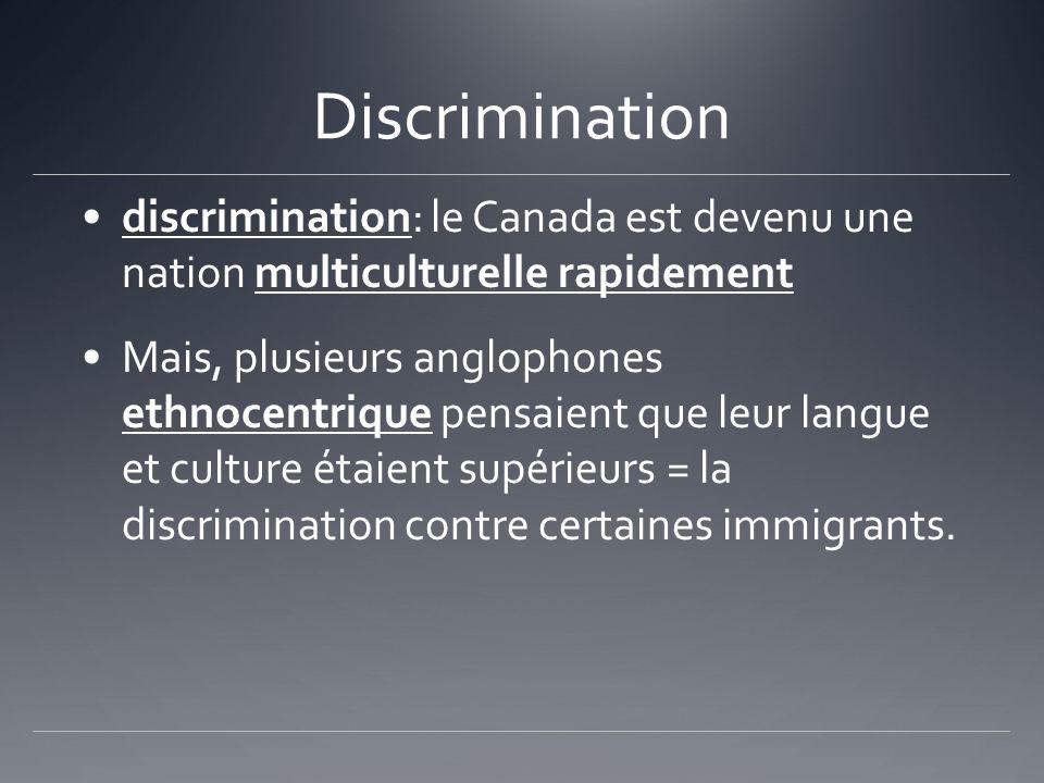 Discrimination discrimination: le Canada est devenu une nation multiculturelle rapidement.