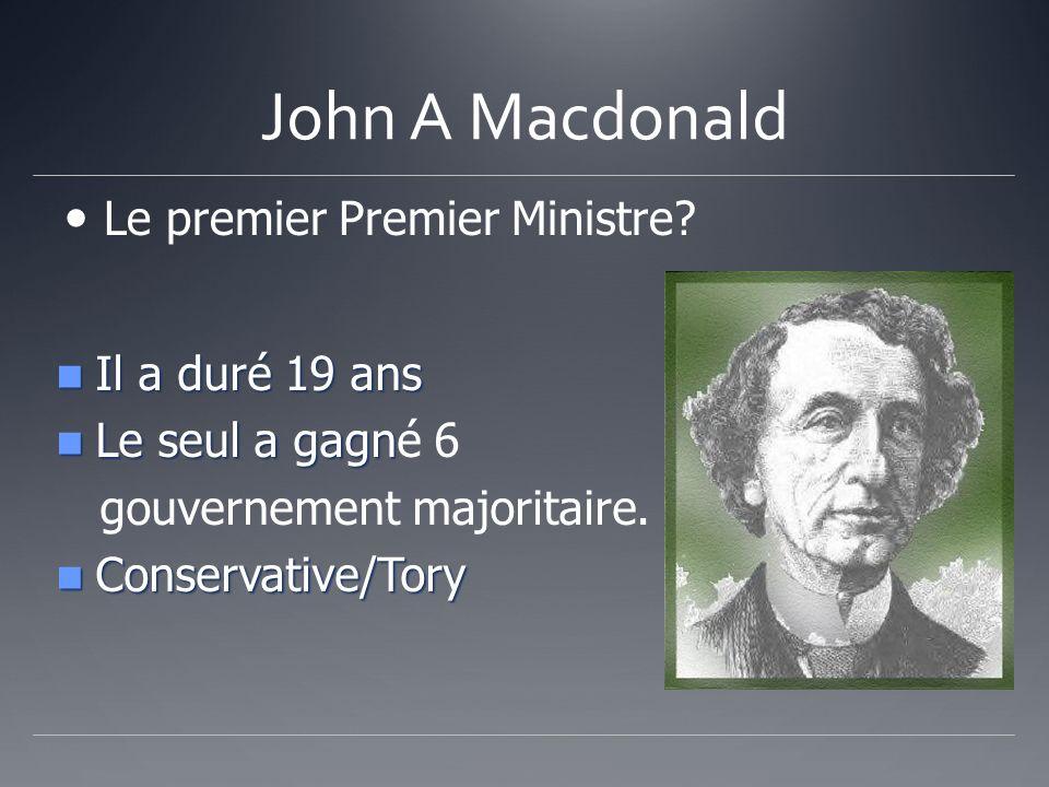 John A Macdonald Le premier Premier Ministre Il a duré 19 ans