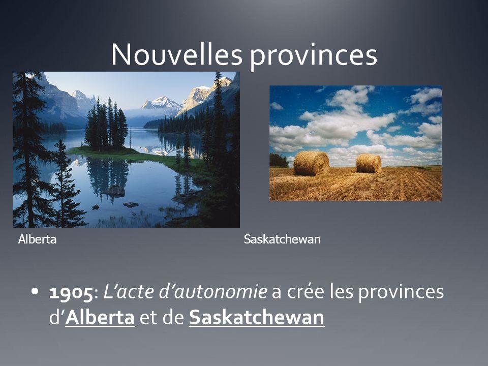 Nouvelles provinces Alberta Saskatchewan.