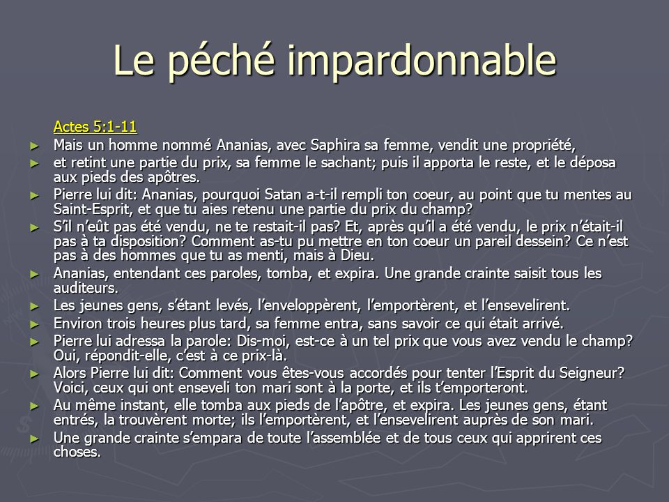 Le péché impardonnable