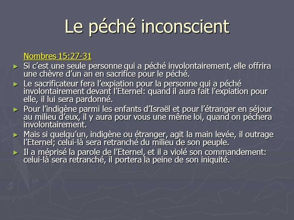 Le péché inconscient Nombres 15:27-31