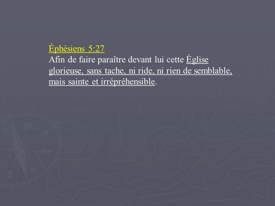 Éphésiens 5:27 Afin de faire paraître devant lui cette Église glorieuse, sans tache, ni ride, ni rien de semblable, mais sainte et irrépréhensible.