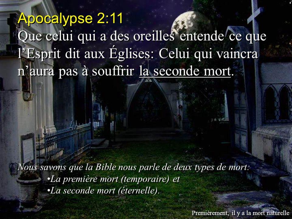 Apocalypse 2:11 Que celui qui a des oreilles entende ce que l'Esprit dit aux Églises: Celui qui vaincra n'aura pas à souffrir la seconde mort.