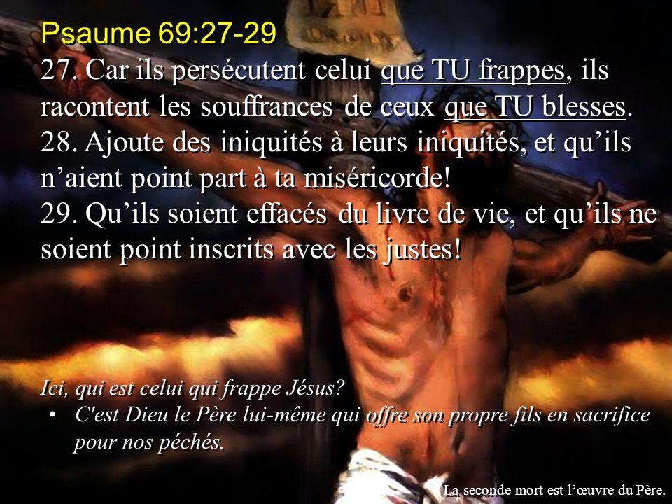 Psaume 69:27-29 27. Car ils persécutent celui que TU frappes, ils racontent les souffrances de ceux que TU blesses.