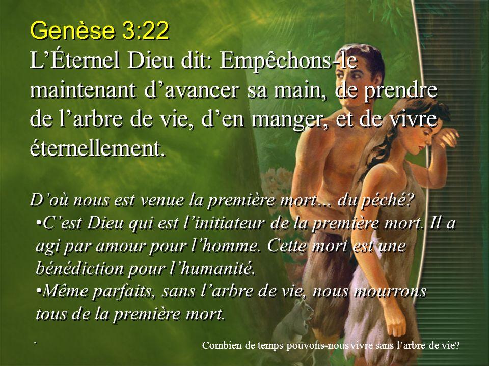 Genèse 3:22 L'Éternel Dieu dit: Empêchons-le maintenant d'avancer sa main, de prendre de l'arbre de vie, d'en manger, et de vivre éternellement.