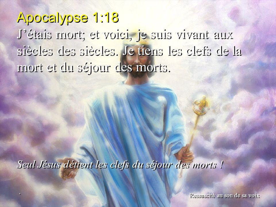 Apocalypse 1:18 J'étais mort; et voici, je suis vivant aux siècles des siècles. Je tiens les clefs de la mort et du séjour des morts.