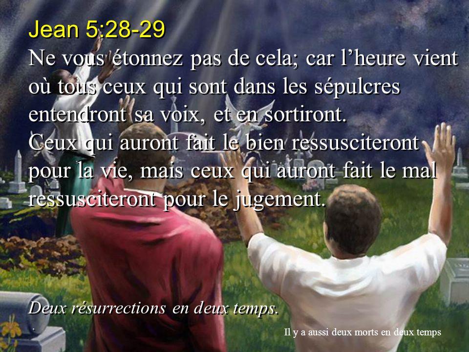 Jean 5:28-29 Ne vous étonnez pas de cela; car l'heure vient où tous ceux qui sont dans les sépulcres entendront sa voix, et en sortiront.