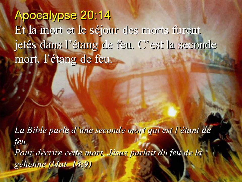 Apocalypse 20:14 Et la mort et le séjour des morts furent jetés dans l'étang de feu. C'est la seconde mort, l'étang de feu.