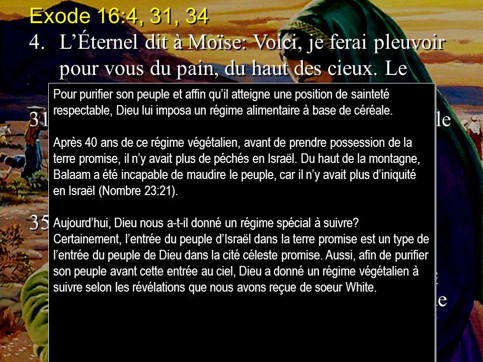 Exode 16:4, 31, 34 4. L'Éternel dit à Moïse: Voici, je ferai pleuvoir pour vous du pain, du haut des cieux. Le peuple sortira, et en ramassera,