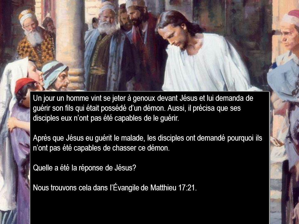 Un jour un homme vint se jeter à genoux devant Jésus et lui demanda de guérir son fils qui était possédé d'un démon. Aussi, il précisa que ses disciples eux n'ont pas été capables de le guérir.