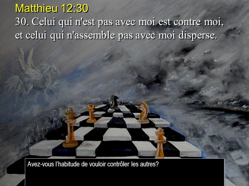 Matthieu 12:30 30. Celui qui n est pas avec moi est contre moi, et celui qui n assemble pas avec moi disperse.