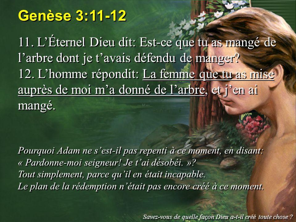 Genèse 3:11-12 11. L'Éternel Dieu dit: Est-ce que tu as mangé de l'arbre dont je t'avais défendu de manger