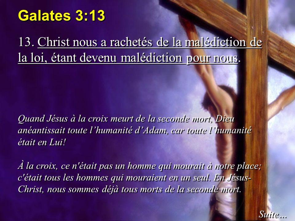 Galates 3:13 13. Christ nous a rachetés de la malédiction de la loi, étant devenu malédiction pour nous.