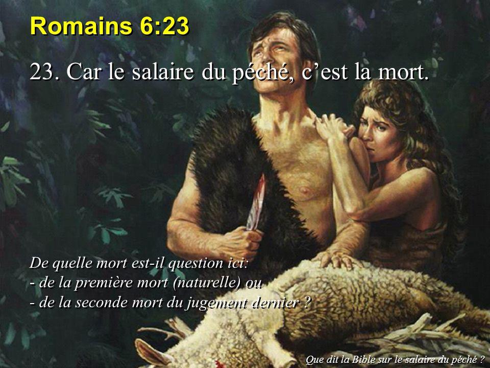 23. Car le salaire du péché, c'est la mort.
