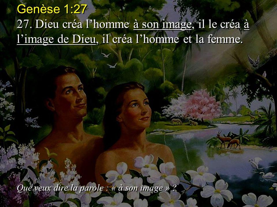 Genèse 1:27 27. Dieu créa l'homme à son image, il le créa à l'image de Dieu, il créa l'homme et la femme.