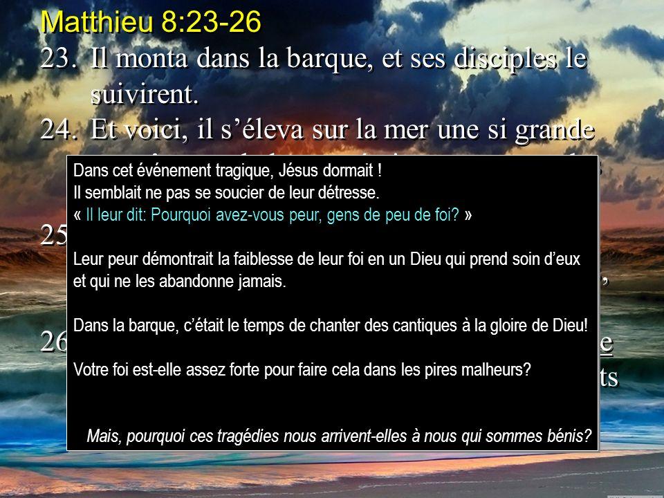 23. Il monta dans la barque, et ses disciples le suivirent.