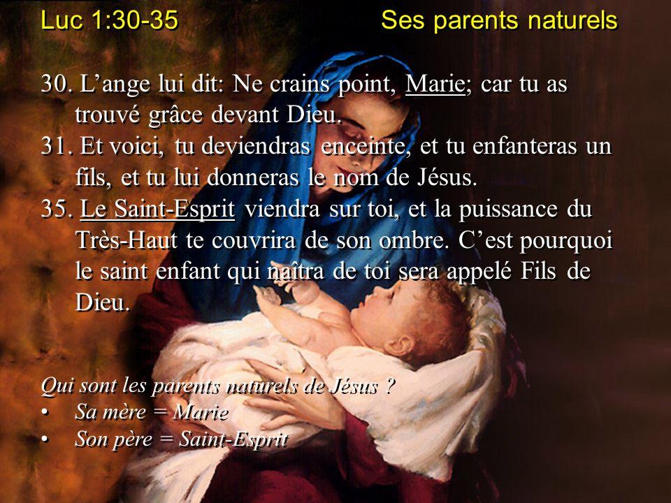Luc 1:30-35 Ses parents naturels