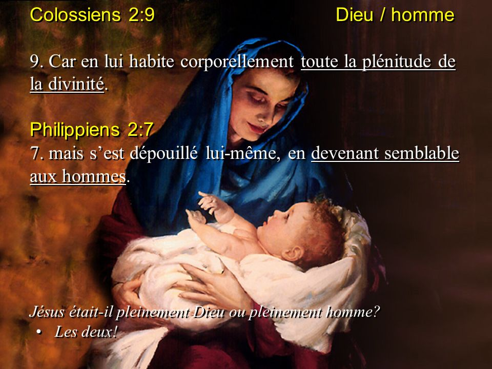 Colossiens 2:9 Dieu / homme