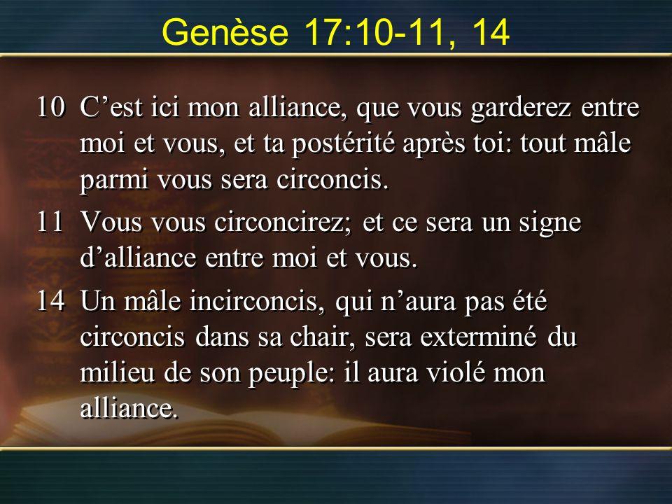 Genèse 17:10-11, 14 10 C'est ici mon alliance, que vous garderez entre moi et vous, et ta postérité après toi: tout mâle parmi vous sera circoncis.